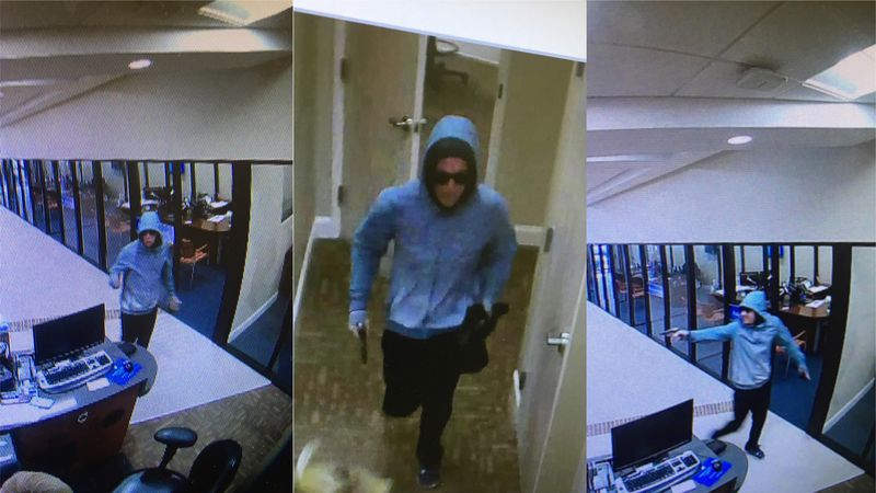 Surveillance images of the male suspect in the armed robbery of the South Carolina State...