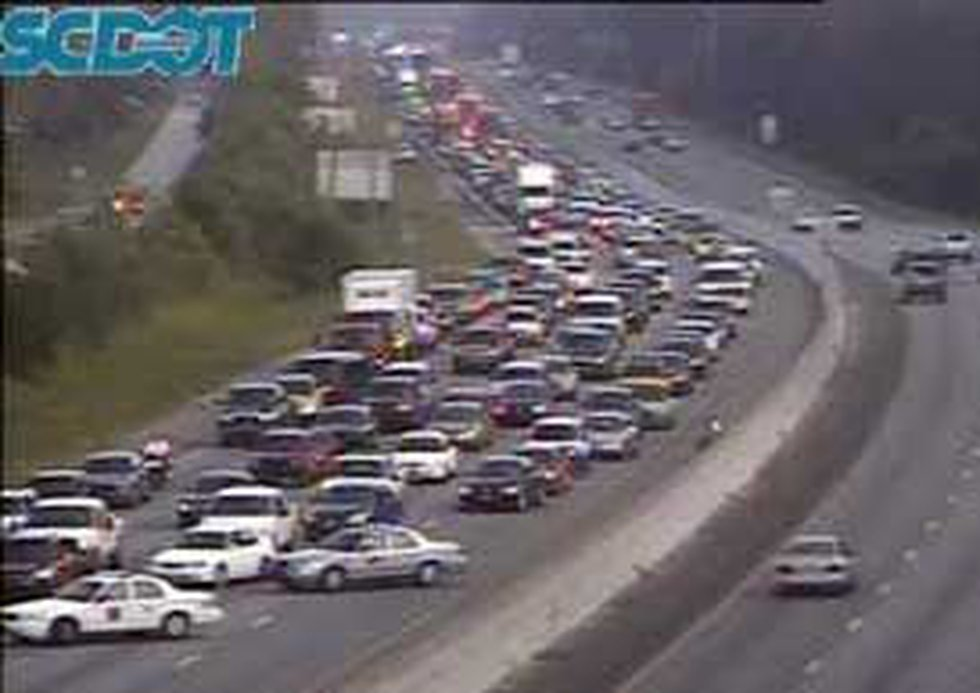 Traffic is stalled on I-26 east