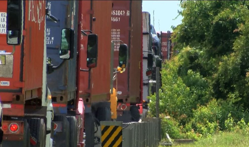 Motorists have been encountering 18-wheelers lined up along the roadway. (Source: Live 5)