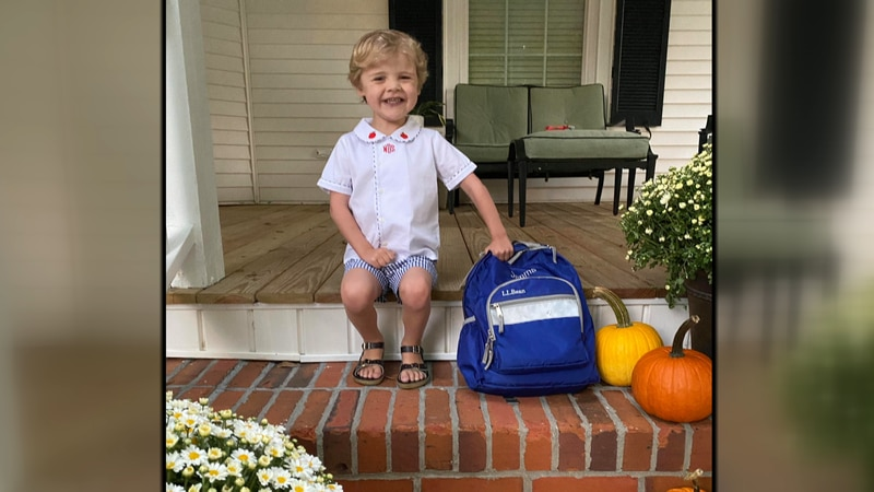 This week, Simms went to his first day of school. He's in 4K.