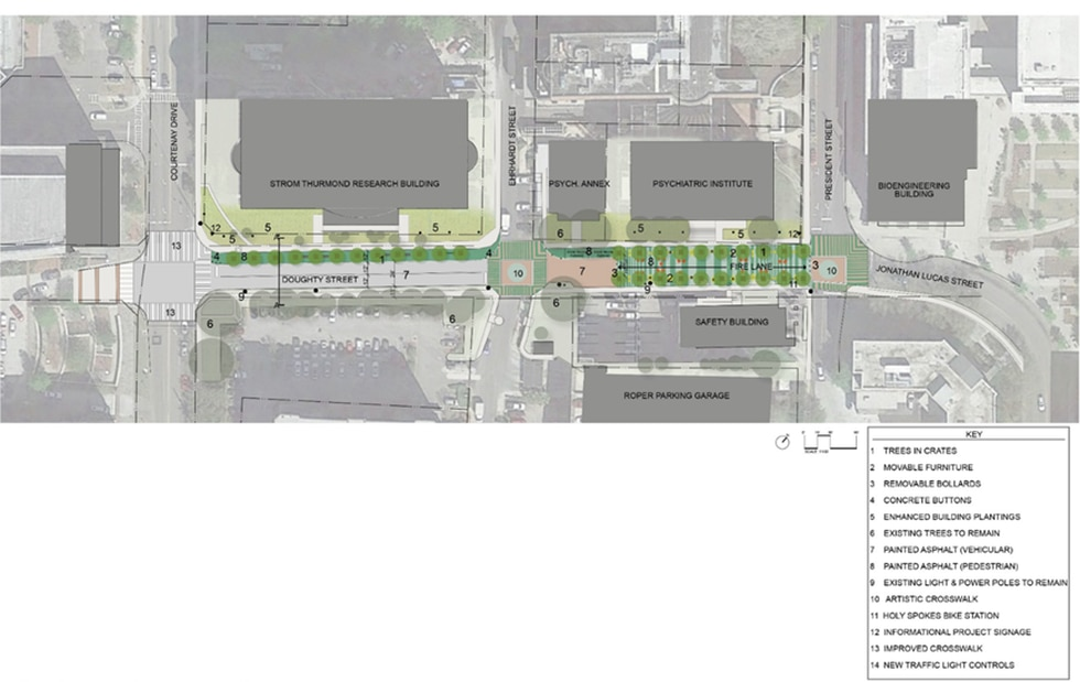 The plans for the future Charleston Medical District Greenway. (Source: MUSC)