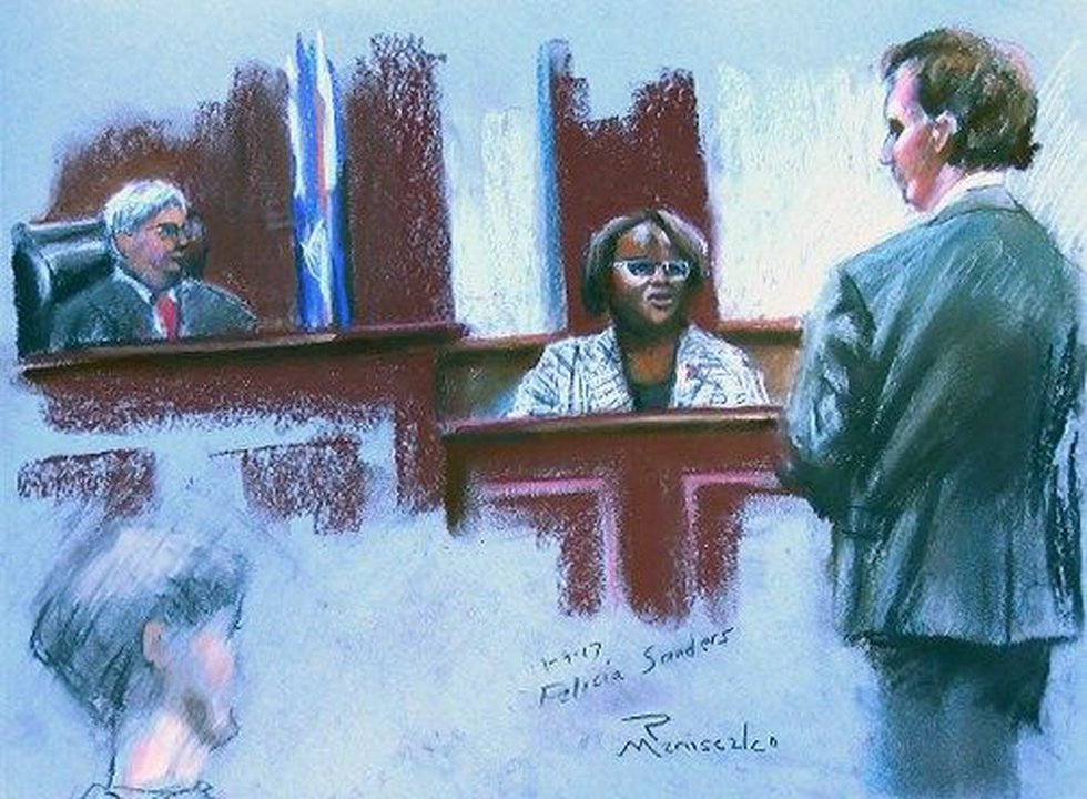 Felicia Sanders takes the stand in Roof's sentencing hearing. (Sketch: Robert Maniscalco)