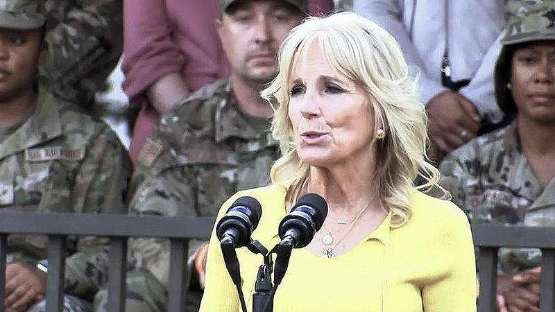 First lady Dr. Jill Biden stopped at at Joint Base Charleston Monday afternoon following her...