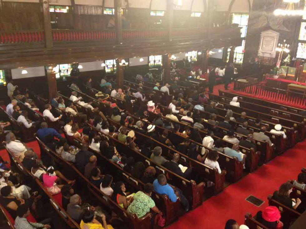 Worshipers packed Emanuel AME Church for its first service since the deadly shooting. (Photo...