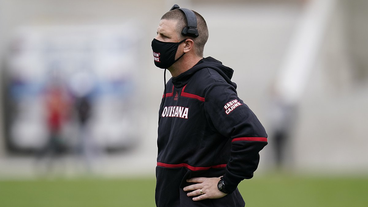 Louisiana-Lafayette head coach Billy Napier watches from the sideline during the first half of...