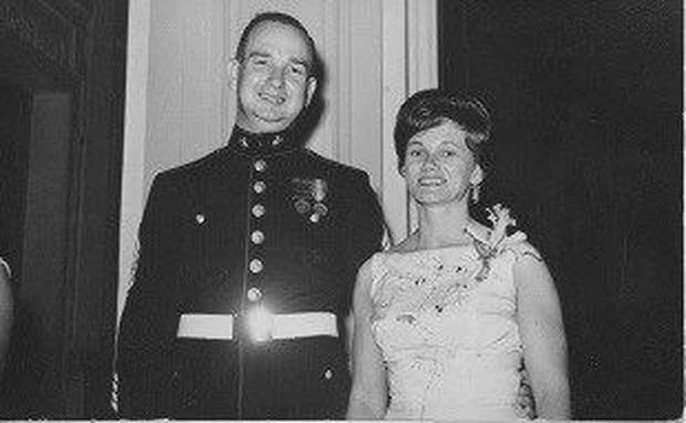 Hilton, along with his late wife Frances, at a Marine Corps Ball in Argentina