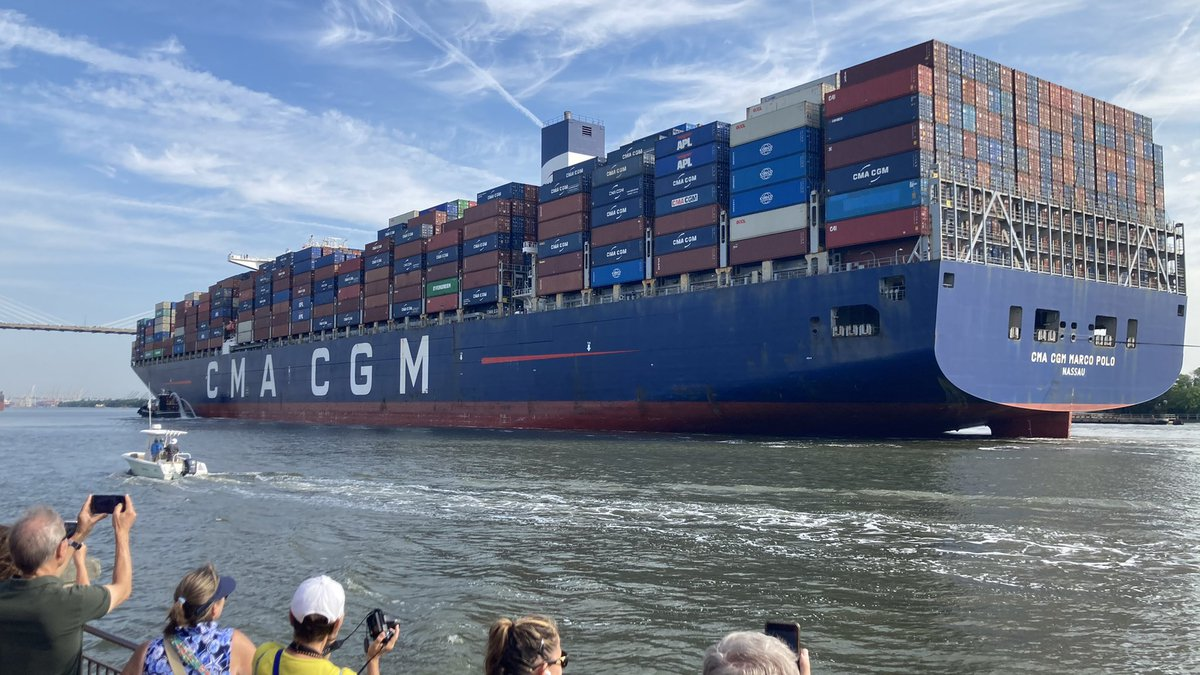 The largest ship to ever call on the U.S. East Coast arrives in Savannah.