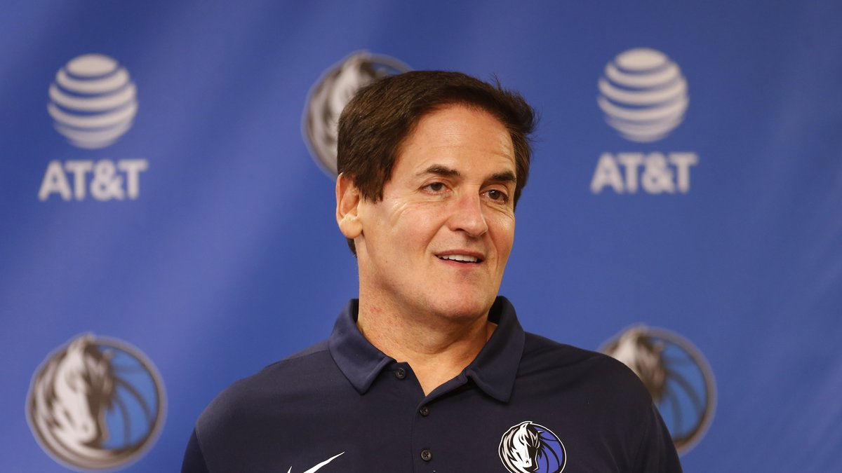 FILE - In tis Feb. 26, 2018, file photo, Dallas Mavericks owner Mark Cuban stands on stage...