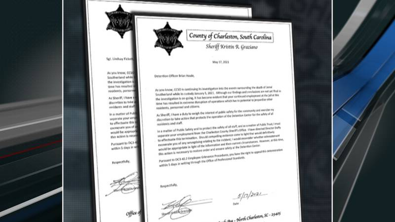 The May 17 letters from Sheriff Kristin Graziano to Detention Sergeant Lindsay Fickett and...