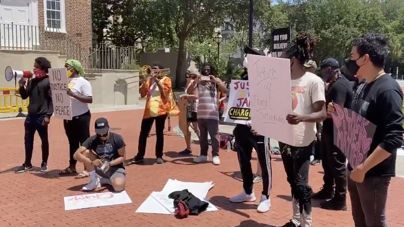 Around 15 to 20 protesters spent the afternoon at the Charleston County solicitors office,...
