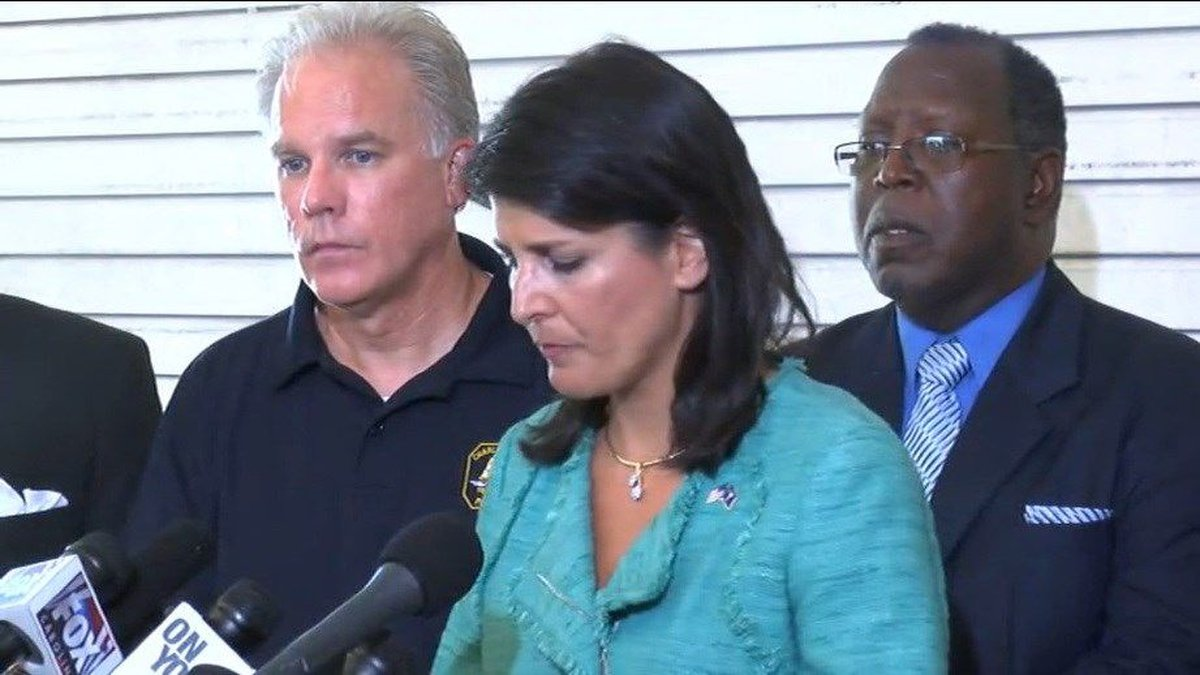 An emotional Gov. Nikki Haley talked about the mass murder of nine people inside a Charleston...