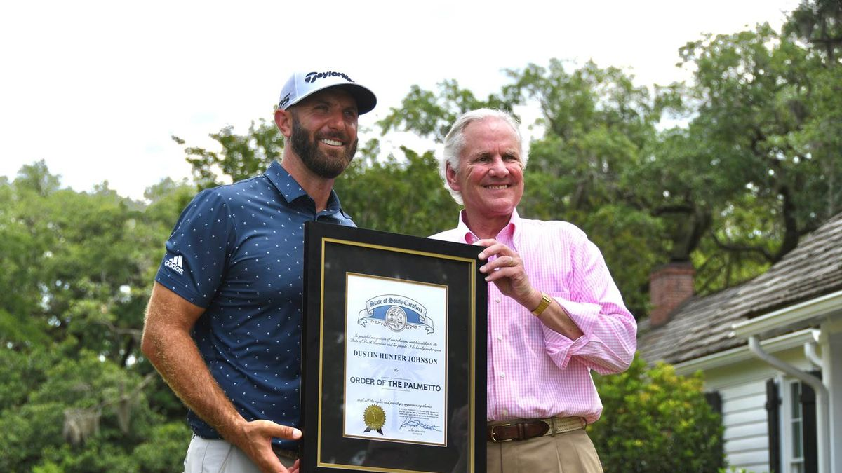 South Carolina native Dustin Johnson received the Order of the Palmetto from Governor Henry...