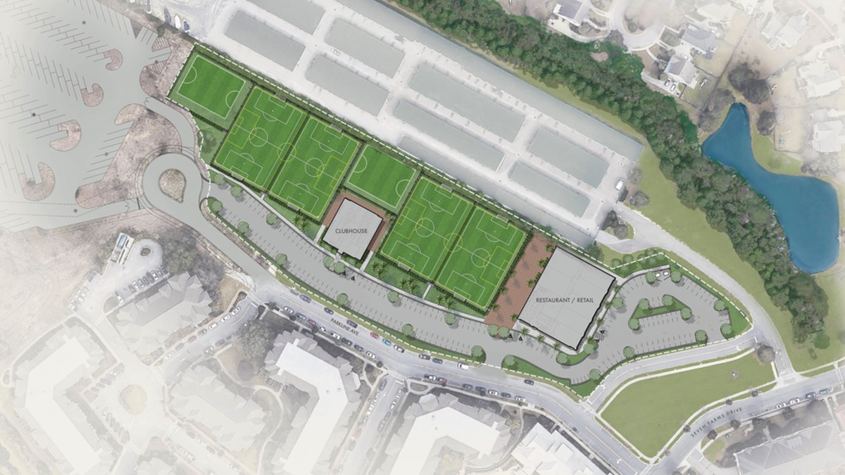 A rendering of the soccer complex planned for Daniel Island.