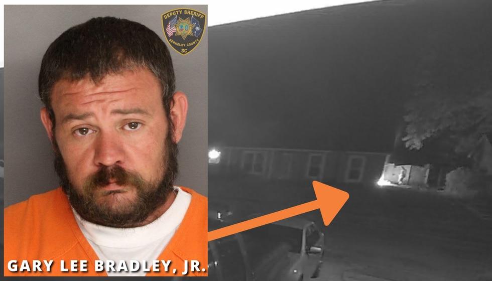 According to investigators, surveillance video captured Bradley spraying some type of liquid...