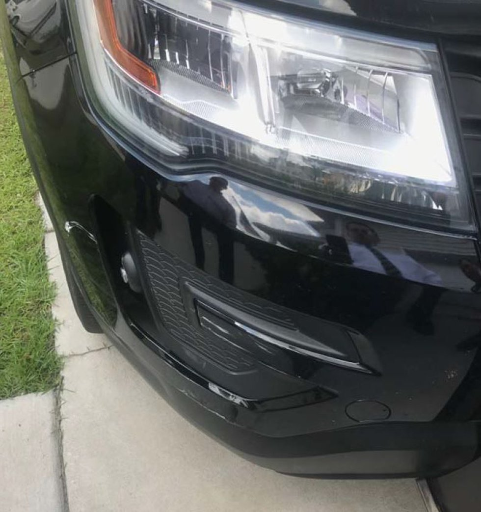 Damage to the right front of the Berkeley deputy's vehicle. (Source: Berkeley Co. Sheriff's...
