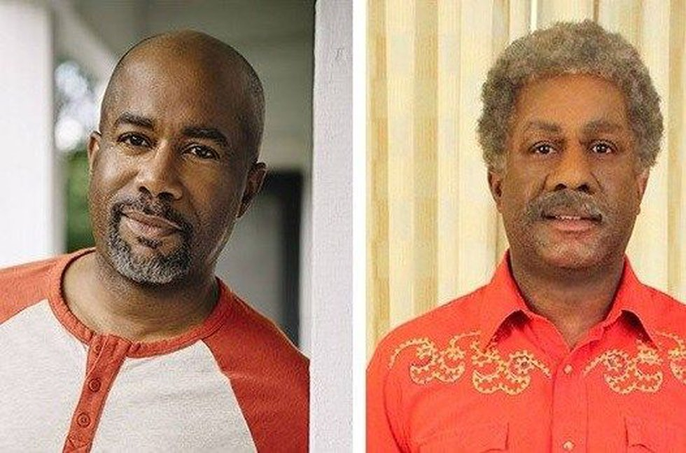 Darius Rucker before, and after the application of make-up, prosthetics, and a wig. (Source: CBS)