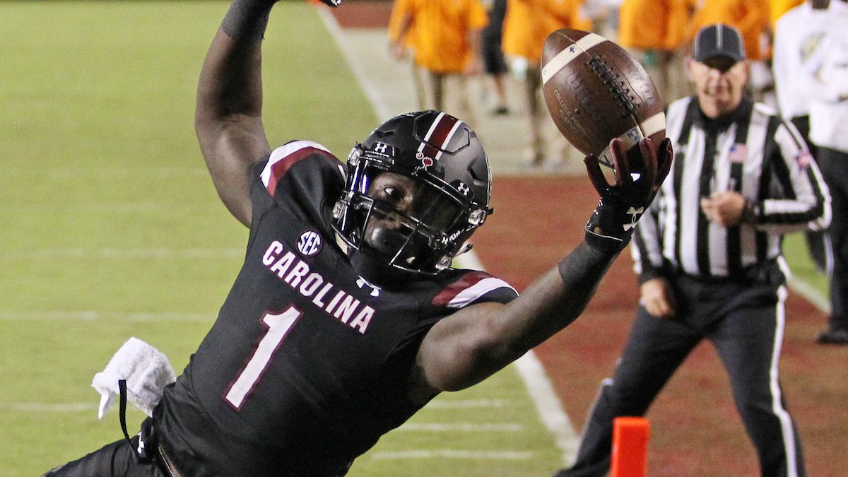South Carolina's Deebo Samuel makes a touchdown catch against Tennessee during second-quarter...