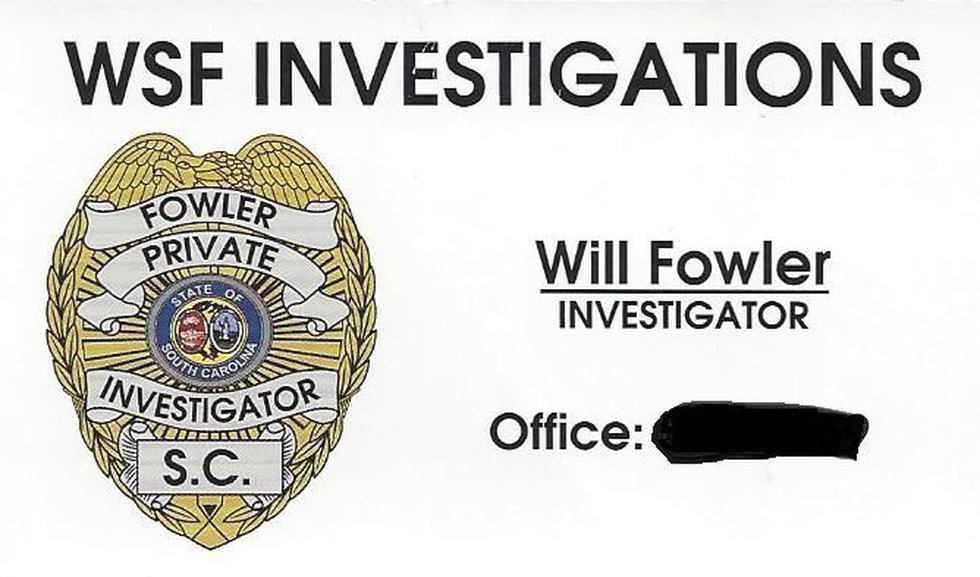 Fowler's business card (Source: Newberry County Sheriff's Office)