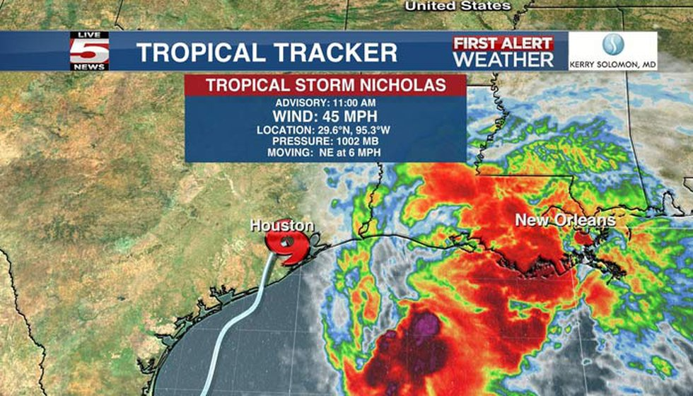Tropical Storm Nicholas continues to weaken after making landfall early Tuesday morning in Texas.