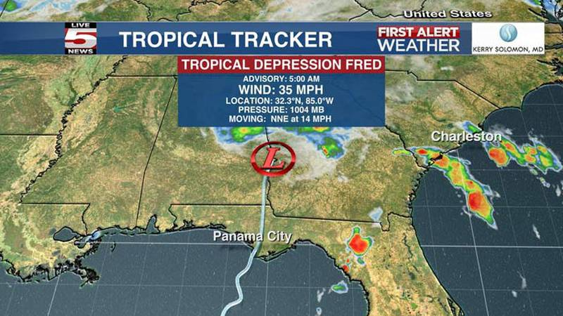As of 5 a.m., the center of Fred was located about 15 miles south-southwest of Columbus, Georgia.