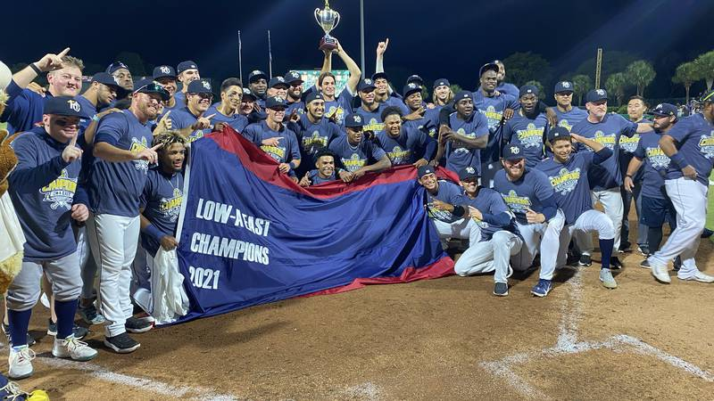 The Charleston RiverDogs celebrate winning the Low-A East Championship Sunday night.