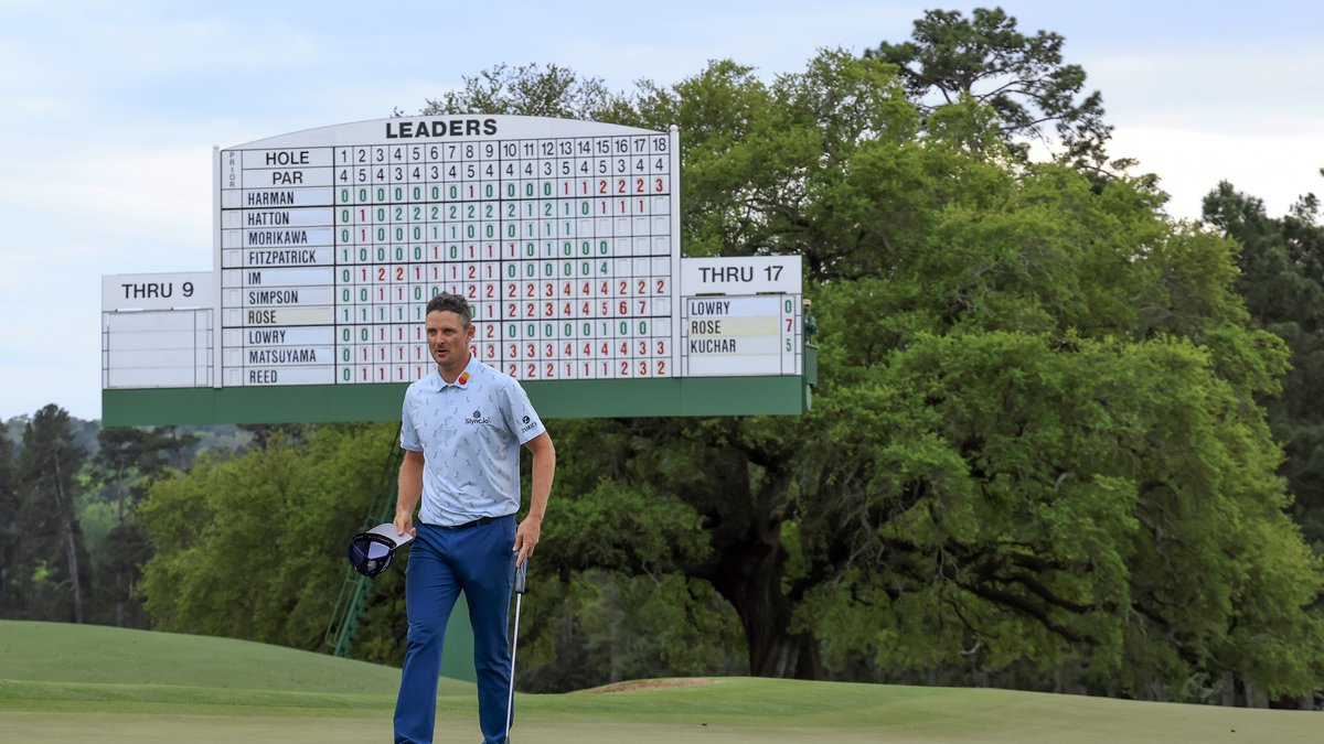Justin Rose of England stands on the No. 18 greenduring Round 1 of the Masters at Augusta...