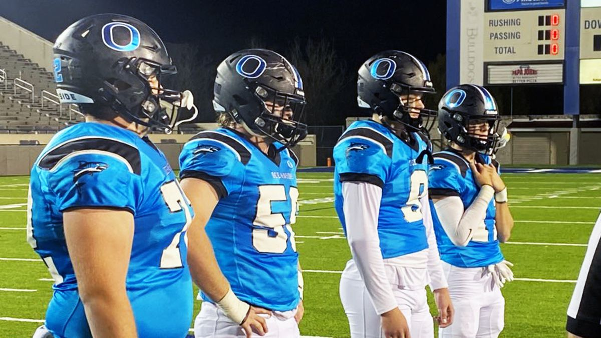Oceanside Collegiate Academy taking the coin toss for their playoff game with Aynor