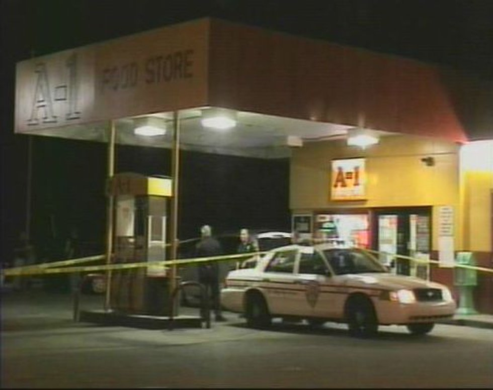 The scene of the armed robbery, shooting.