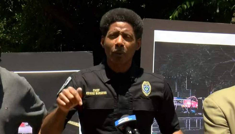 North Charleston Police Chief Reggie Burgess became emotional at a news conference following a...