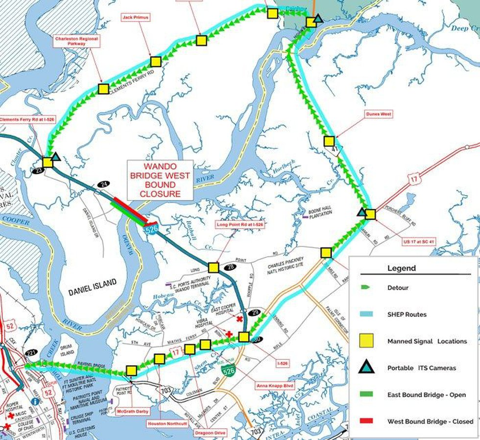 This SCDOT map shows the current detours in place around the closed westbound Wando Bridge....