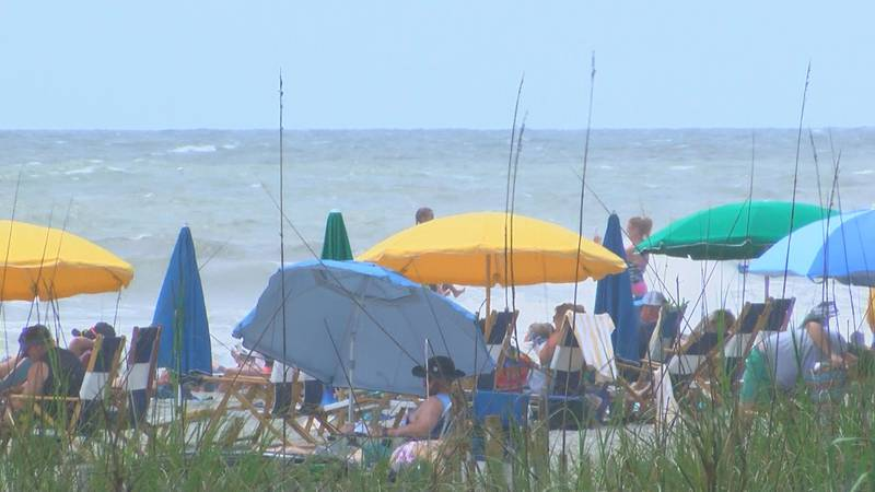 Tourists sit out in Myrtle Beach