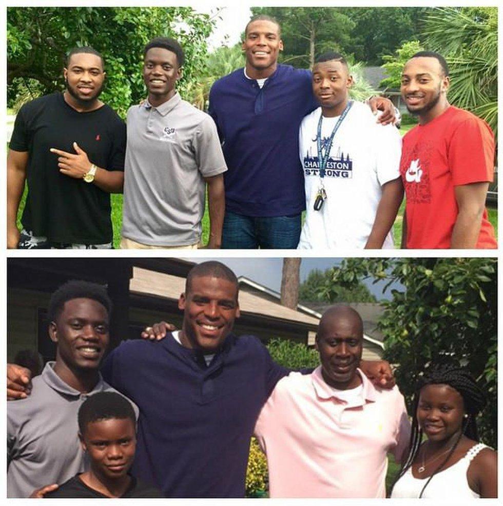 Cam Newton with friends of family of Sharonda Coleman-Singleton. (Source: Rashard Alston,...