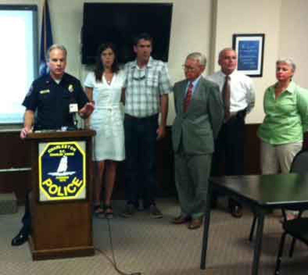Charleston Police Chief Gregg Mullen, Elizabeth & Bob Page and Mayor Joe Riley at the Tuesday...