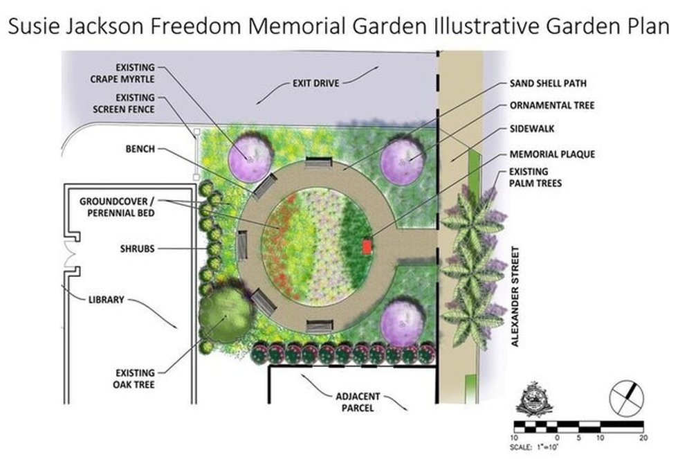 A rendering shows the proposal for the Susie Jackson Memorial Garden