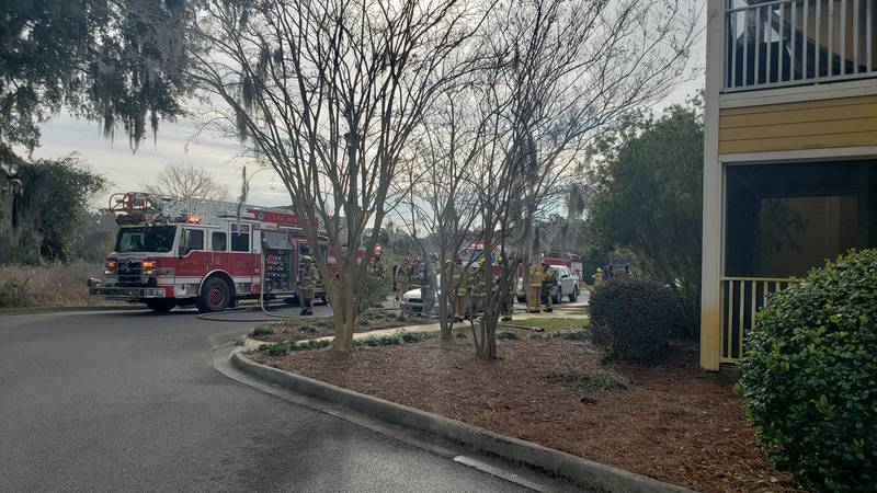 Port Royal fire crews respond to a porch fire at a Lowcountry apartment on Friday morning....