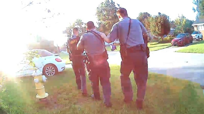 A still picture from body camera footage from a Charleston County Sheriff's Office deputy on...