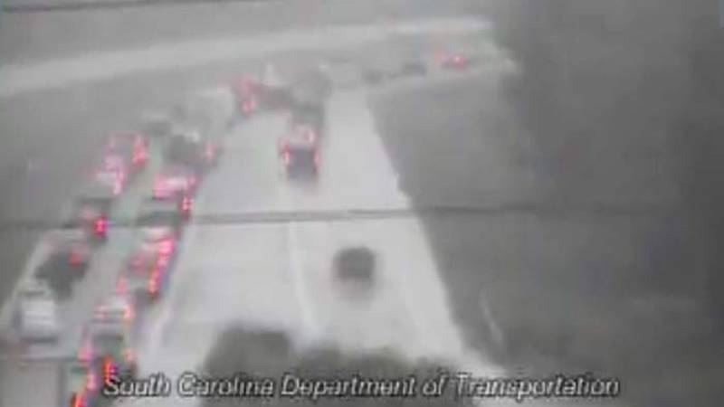Mount Pleasant Police say one lane is closed on I-526W near Long Point Road.