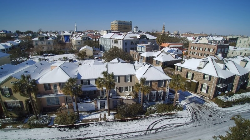Downtown Charleston covered in snow after storm in Jan. 2018.