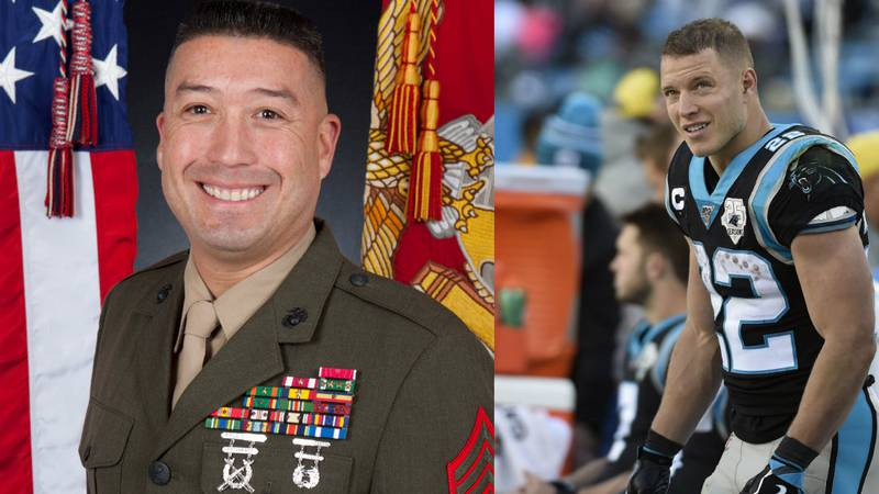Christian McCaffrey is scheduled to meet with Sergeant Major Leiva and other military members...