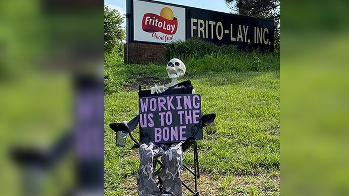 This sits outside a Frito-Lay facility in Topeka, Kansas where hundreds of workers are walking...