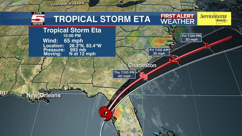 The late night update on Tropical Storm Eta showed the forecast track shifting east and the...