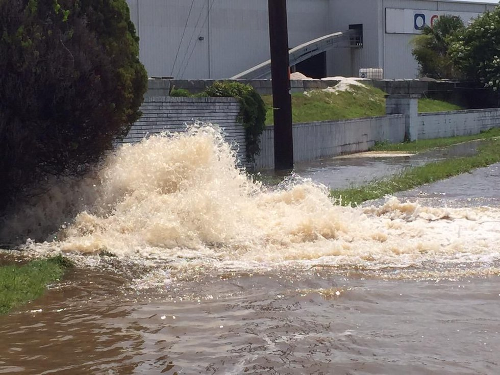 The water company said this water main break was the cause of a water outage downtown. Source:...
