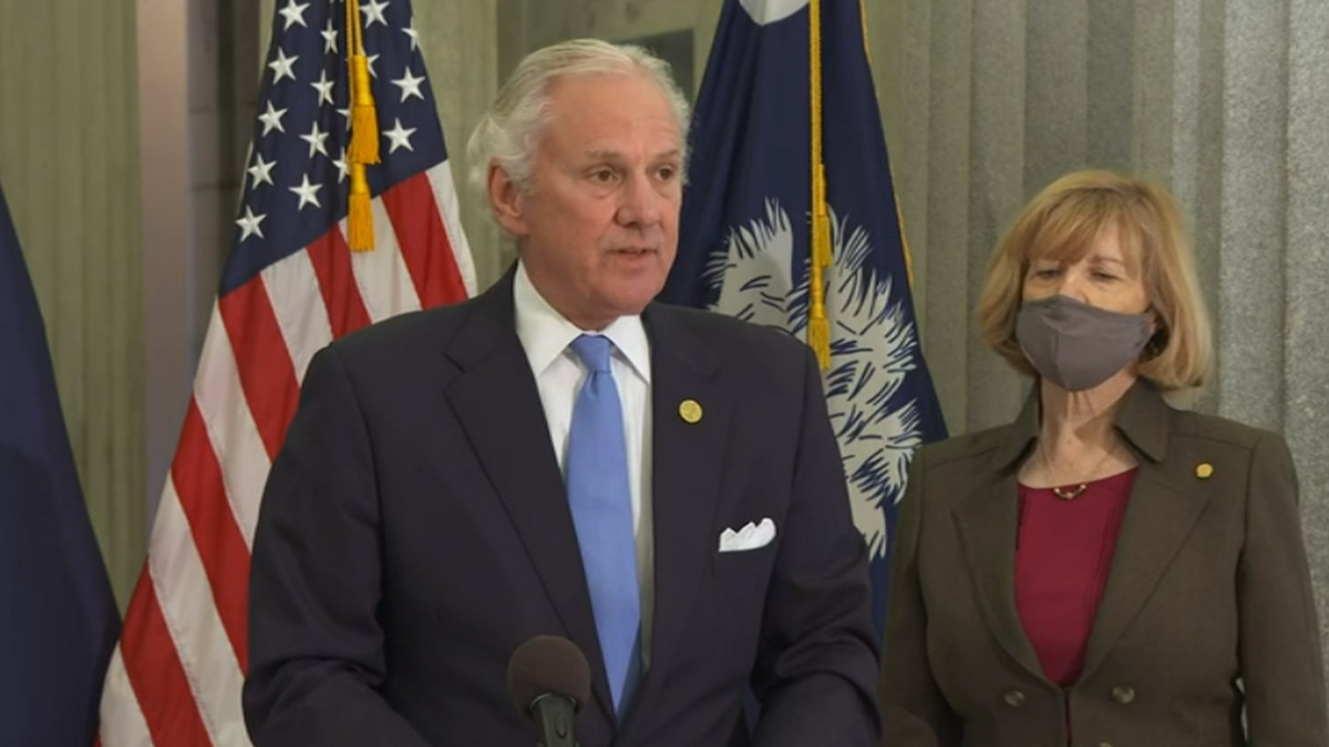 S.C. Gov. Henry McMaster and state Superintendent Molly Spearman discuss plans for vaccinating...