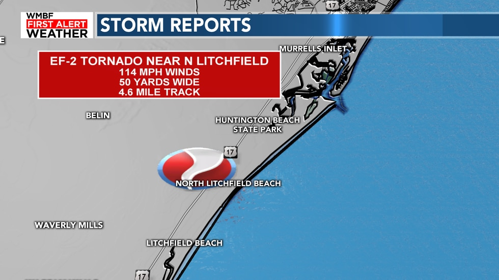 NWS reports that an EF0 tornado started in Litchfield Beach and made its way onto Huntington...