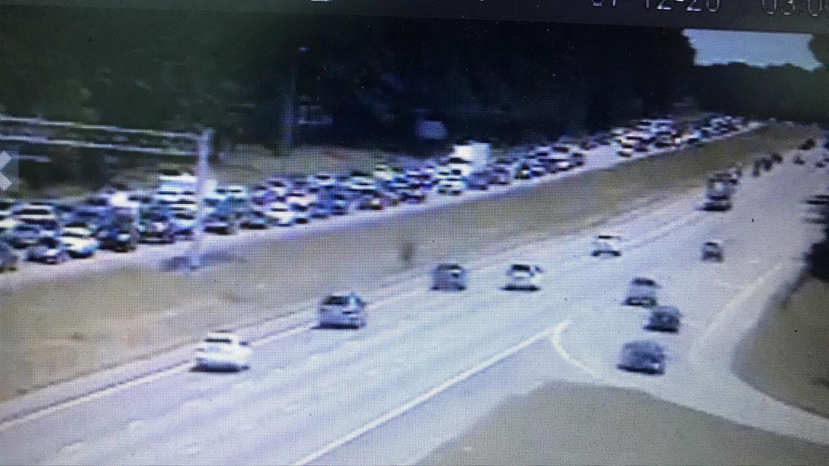 Traffic backup from the crash on I-26