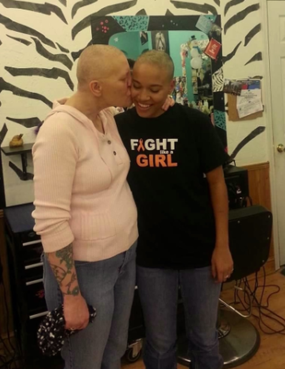 Natasha with her mother following her cancer diagnosis.  Natasha donated her hair to Locks of...