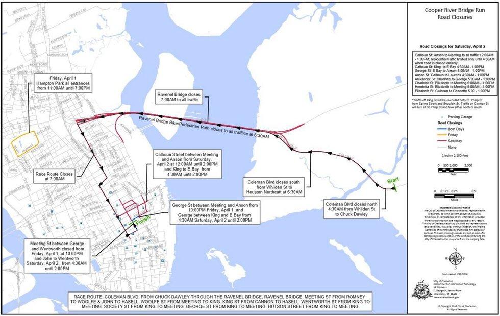 Road closures. (Source: Cooper River Bridge Run)