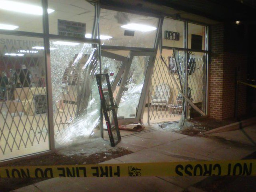 The damaged front door. (Source: Alan Campbell)