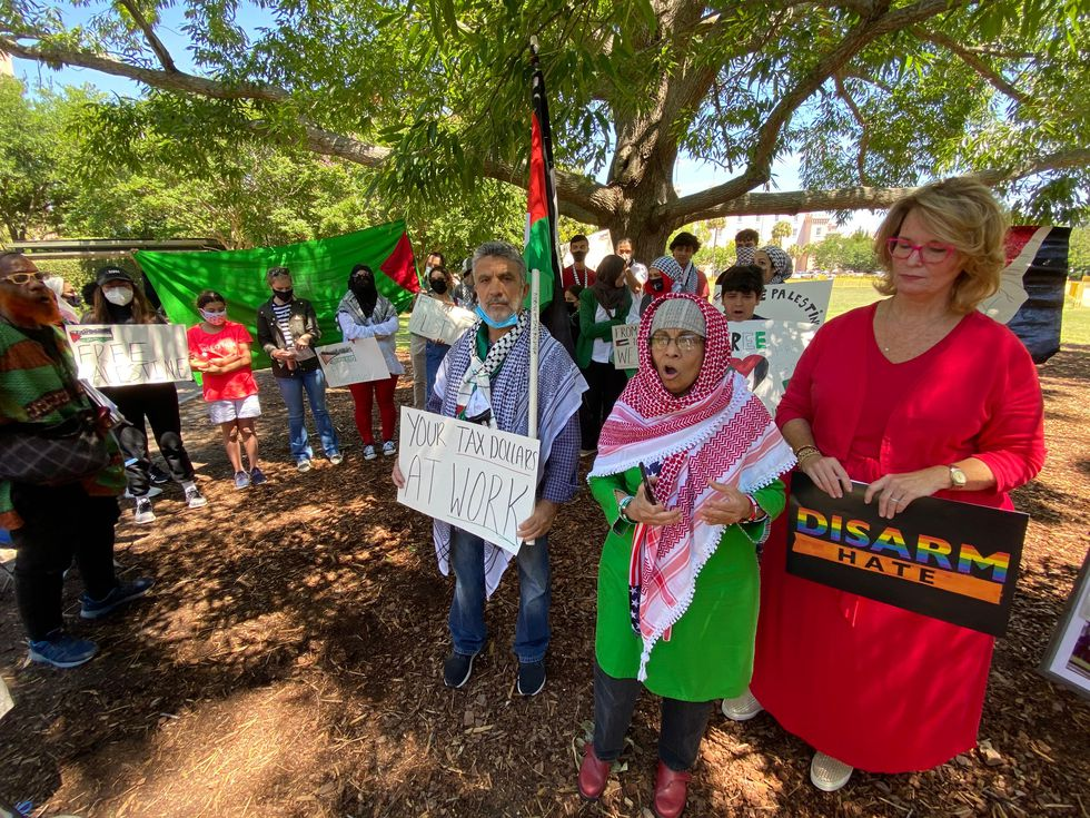 Pro-Palestine activists take to Marion Square to protest violence in Israel, Gaza