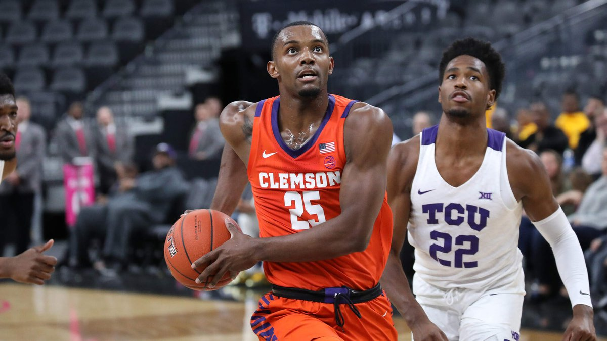 Aamir Simms had a double-double to help lead Clemson to an overtime win over TCU in Las Vegas